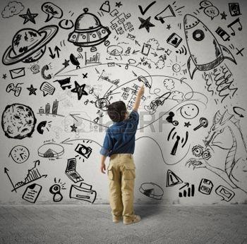 24265580-子供とバリウス図面と小さな天才の概念